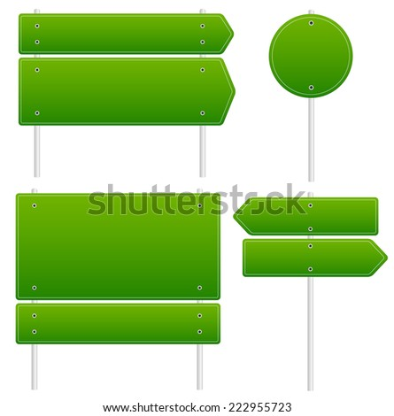 Different road signs - Rectangular, circular, arrow signs on poles