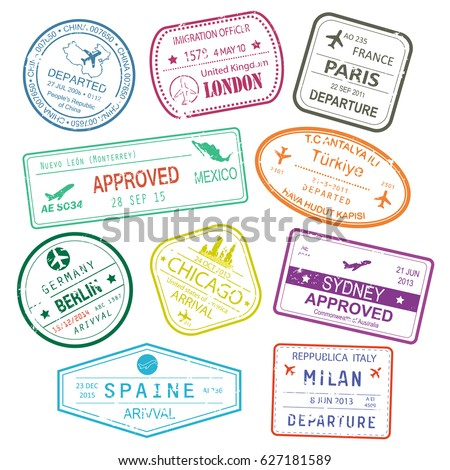 Different Rubber Stamps Visa Signs Passport Stock Vector