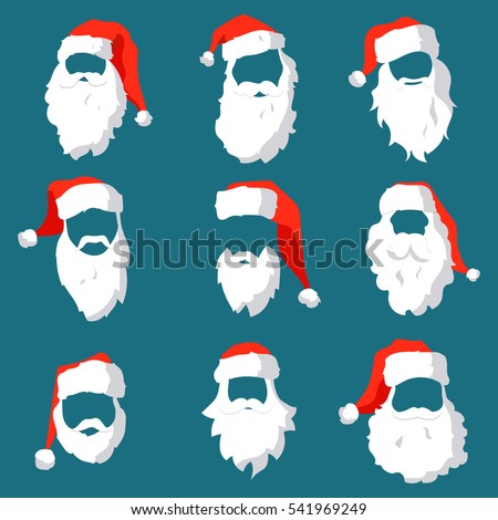 different santa hats moustache beards template stock vector