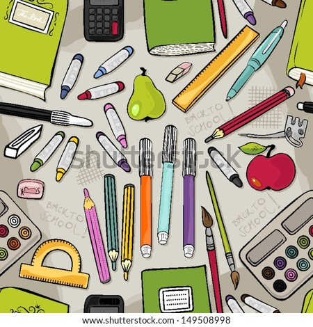 different school tools colorful set of isolated elements on light background seamless pattern