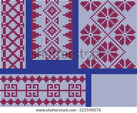 Different Seamless Crossstitch Embroidery Patterns Stock Vector