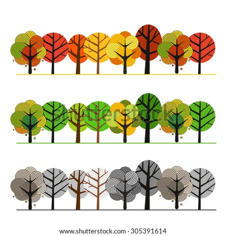Different seasons of forest. Illustration concept