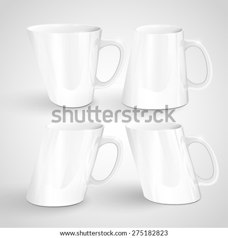 Different shaped mugs, vector
