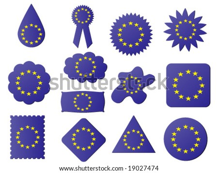 different shapes of label with eu flag on it - stock vector