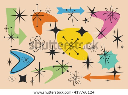 Different shapes of the fifties - stock vector