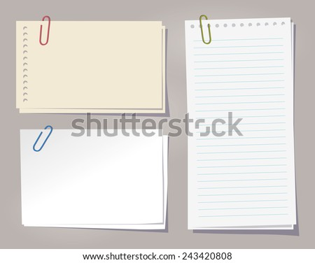 Different sheets of note papers and color paper clips. - stock vector