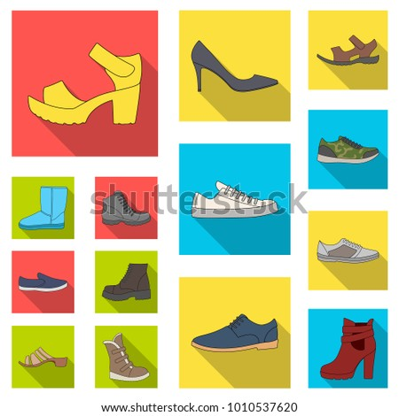 Different shoes flat icons in set collection for design. Men's and women's shoes vector symbol stock web illustration.
