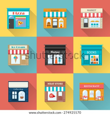 Different shops and stores icons set with long shadow. Includes ice-cream store, meat store, pizzeria, books store, boutique, bakery, coffee shop, restaurant, market - stock vector