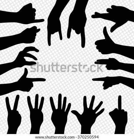 Different sign by hands. Silhouettes of hands - stock vector