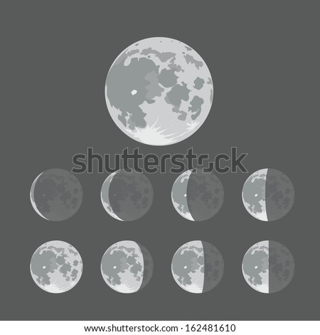 Different silhouettes of the Moon - stock vector
