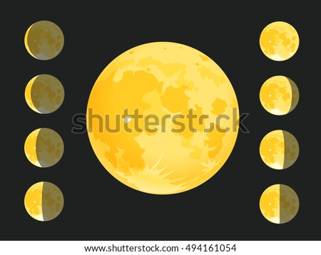 Different silhouettes of the Moon. Vector clip-art