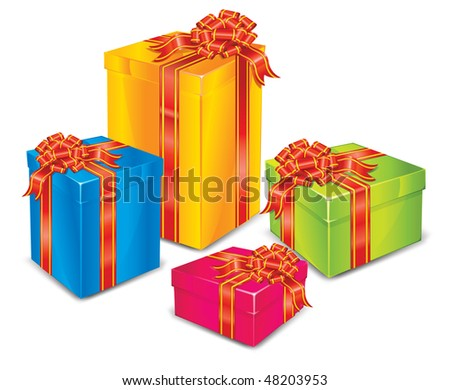 Different size color boxes surprise with red tape, wrapper for gift