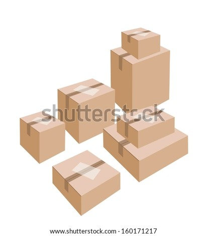 Different Size of Sealed Cardboard Boxes with Blank White Label Isolated on White Background, Ready for Shipping.