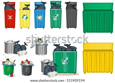 Different size of trashcan illustration - stock vector