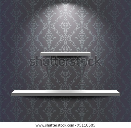 Different sized shelves in the grey room - stock vector
