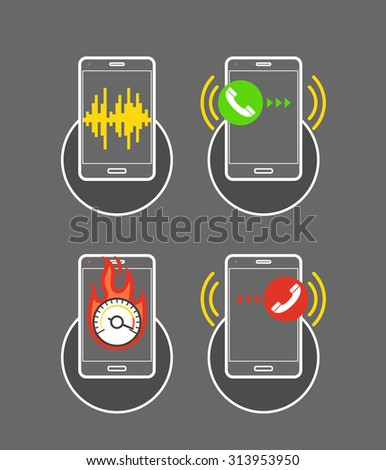 Different smartphone activities icons - stock vector
