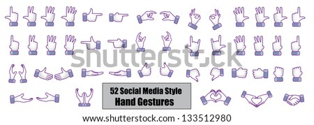 Different Social media style hand gestures, hand signs, hand symbols - Count, Counting, Love, like, Best, showing direction, Share, Hand shake, Catching, Give, Protect, Fight, Protest, Hold, Deal - stock vector