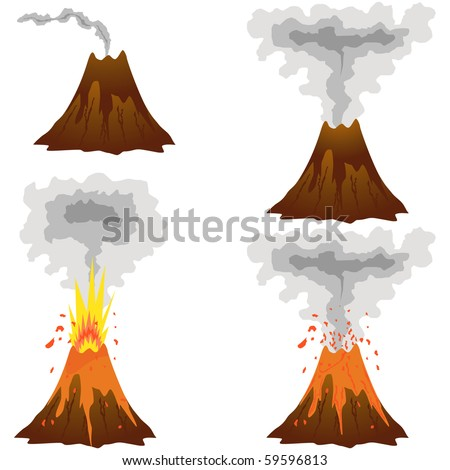 Different stages of volcano icon set vector isolated on white