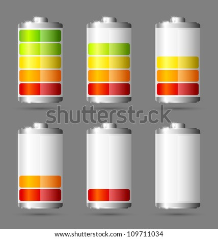 Different states of charged battery icons - stock vector