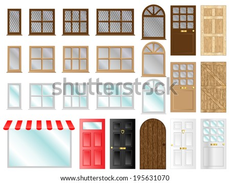 Different style doors and windows vector illustrations  - stock vector