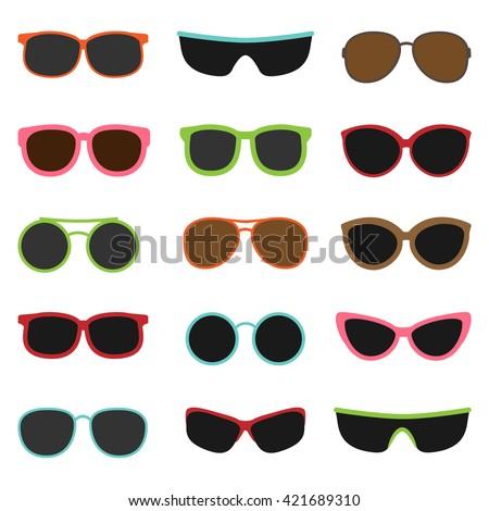 Different sun glasses on white background vector set - stock vector