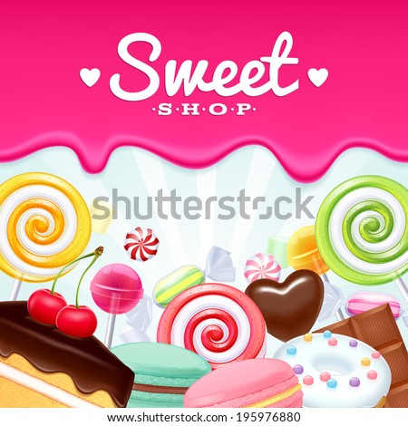 Different sweets colorful background. Lollipops, cake, macarons, chocolate bar, candies and donut on shine background. - stock vector