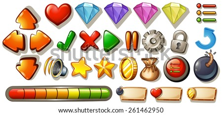 Different symbols and icons of game elements - stock vector