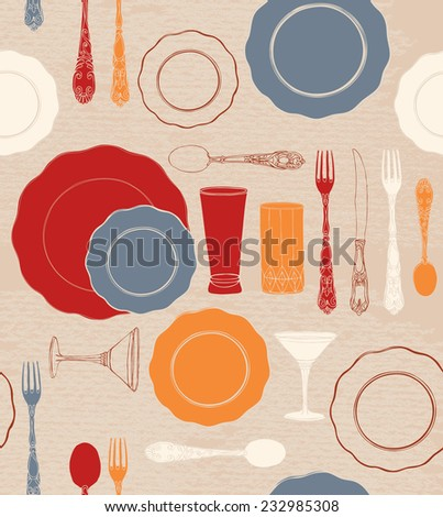 Different tableware. Seamless background. - stock vector