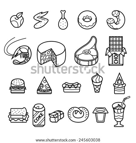 different tasty and healthy food - vector icon set - stock vector