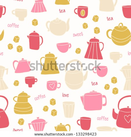 Different tea and coffee cups, pots background. Romantic background in pastel color. Tea and coffee time seamless pattern. Vector illustration