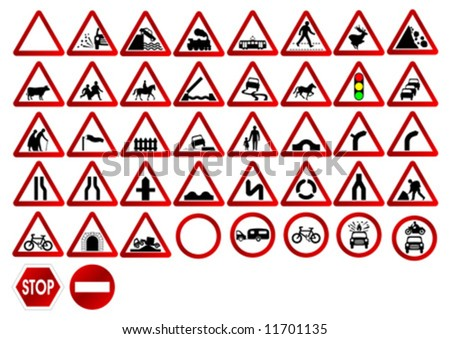 Different traffic signs isolated over white background