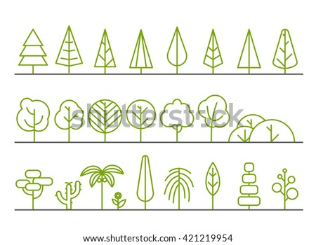 Different trees collection isolated on white - stock vector