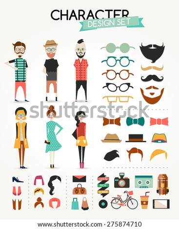Different type of boy and girl character design set. info graphic concept background with icons. Hipster style. - stock vector