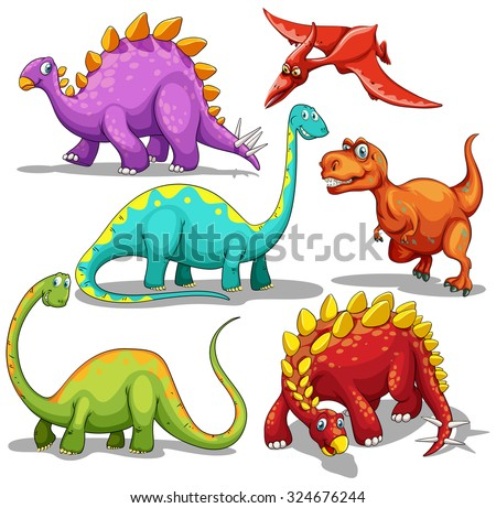 Different type of dinosaurs illustration - stock vector