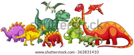 Different type of dinosaurs in group illustration - stock vector