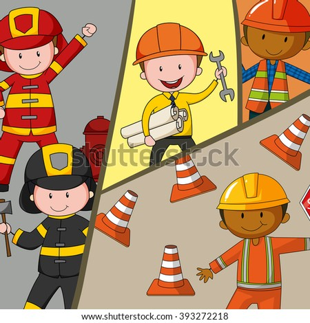 Different type of occupations illustration - stock vector