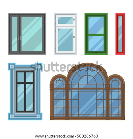 Different types house windows vector elements stock vector for House windows online