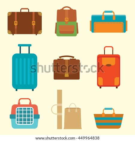 Different types of baggage. Large and small suitcase, hand luggage,  backpack, carrying animals, crate, handbag. Flat vector illustration