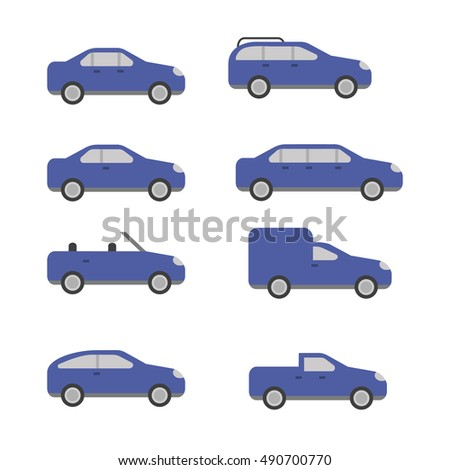 Different types of cars vector icons. The variety of cars icons.