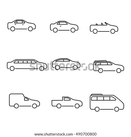 different types of cars vector outline icons the variety of cars outline icons