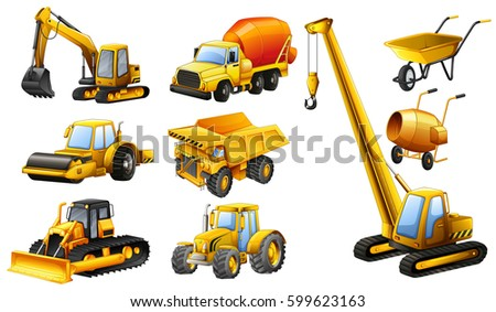 Different types of construction trucks illustration