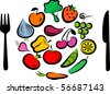 Different types of delicious fruits and vegetables combined in round frame - stock