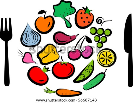 Different types of delicious fruits and vegetables combined in round frame - stock vector