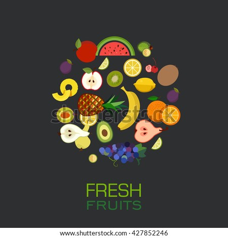 Different Types Delicious Fruits Combined Frame Stock Vector ...