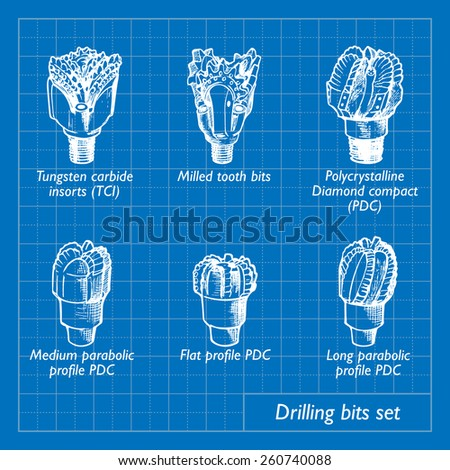 Different types of drill bits used for drilling in different geological conditions. Set of 6 EPS10 vector illustration imitating blueprint style scribbling with white marker. - stock vector