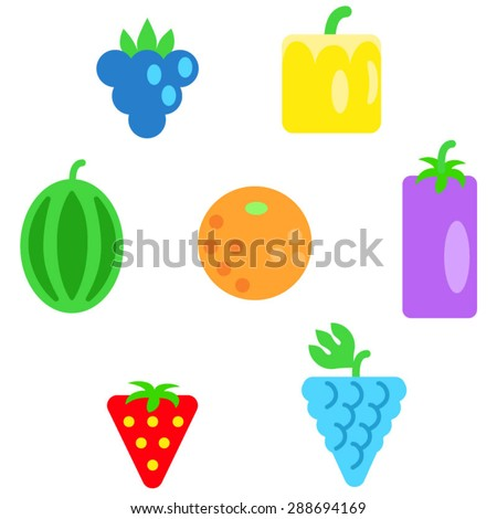 different types of fruits as simple shapes and in colors of rainbow circle ellipse - Simple Shapes