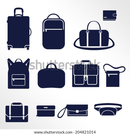Different types of men's bags / Solid fill icons