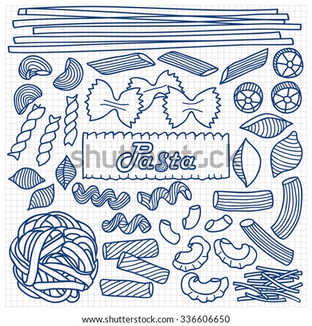 Different types of pasta on squared background. Vector illustration of hand drawn pasta elements for menu, backgrounds, wrapping, posters, textile prints