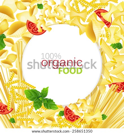 Different types of pasta, tomatoes, basil on a white background - stock vector