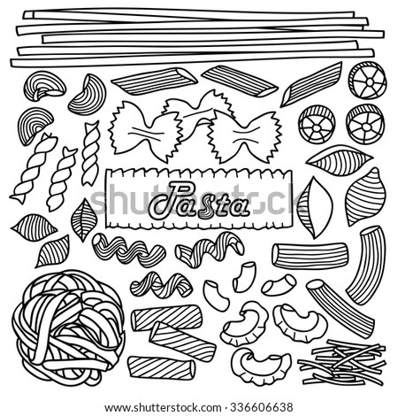 Different types of pasta. Vector illustration of hand drawn pasta elements for menu, backgrounds, wrapping, posters, textile prints